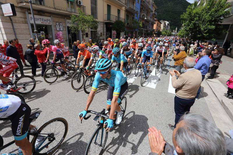 Cassino, Italy - May 16, 2019: the sixth stage of the 102nd Tour of Italy Cassino-San Giovanni. Rotondo stock photos