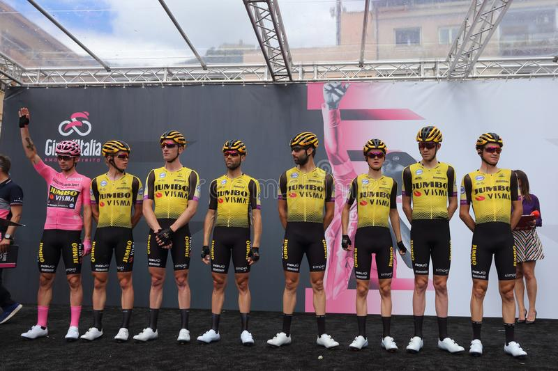 Cassino, Italy - May 16, 2019: The Jumbo team - Visma on the podium of the sixth stage of the 102th Tour of Italy Cassino-San royalty free stock photography
