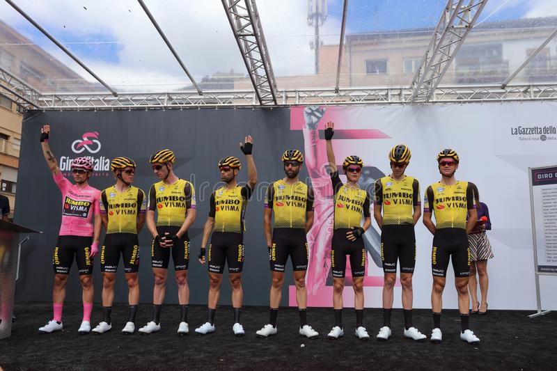 Cassino, Italy - May 16, 2019: The Jumbo team - Visma on the podium of the sixth stage of the 102th Tour of Italy Cassino-San royalty free stock image