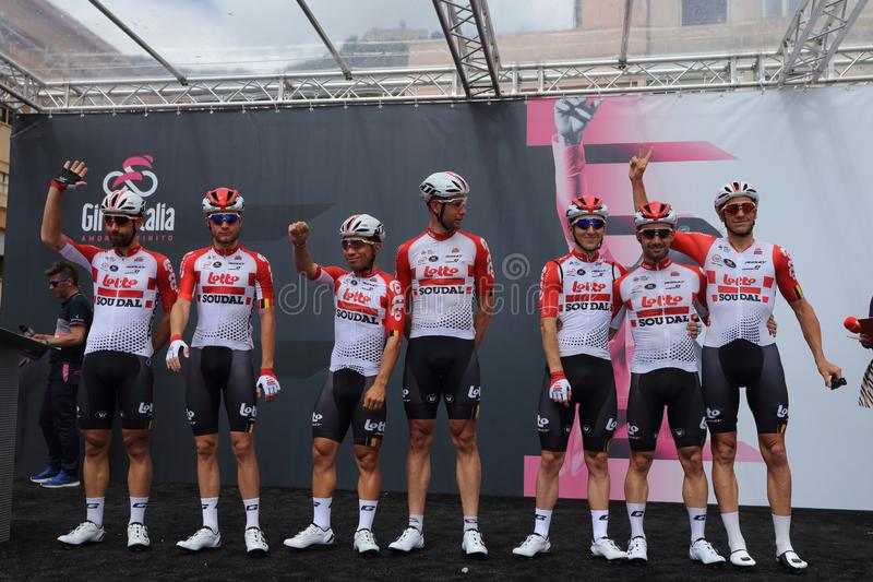 Cassino, Italy - May 16, 2019: The Lotto Soudal team on the podium of the sixth stage of the 102th Tour of Italy Cassino-San royalty free stock image