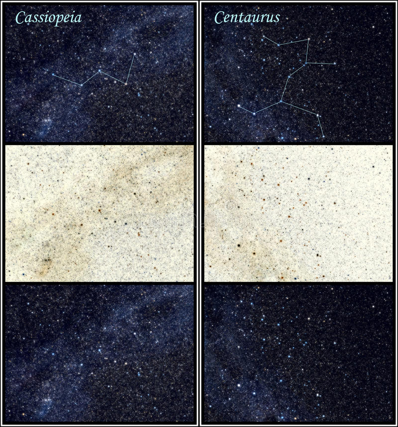 Cassiopeia en constellaties Centaurus royalty-vrije illustratie