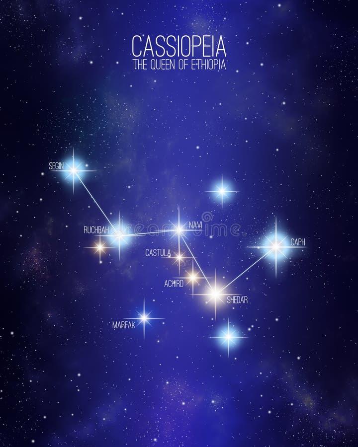 Cassiopeia a rainha da constelação de Etiópia em um fundo estrelado do espaço ilustração royalty free