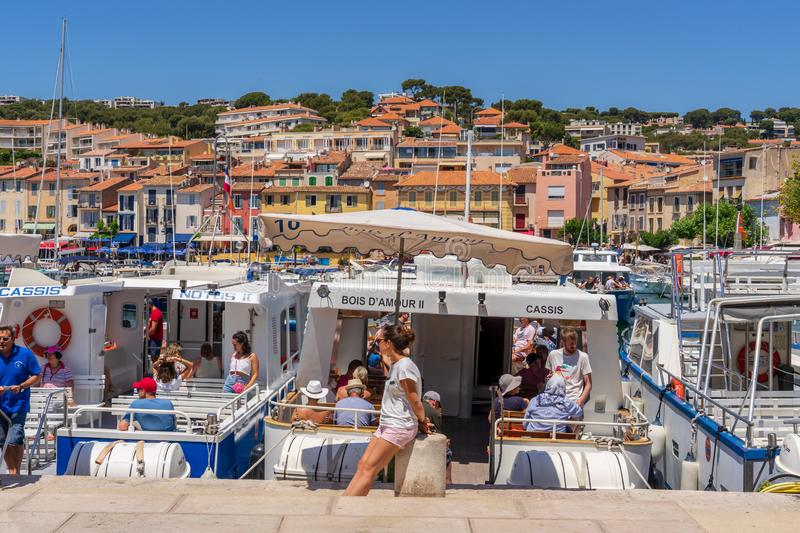 Cassis village boat tour in Provence. Cassis village is located near Marseille in France. Popular place for beach and boat tours to see the deep narrow creeks royalty free stock photos