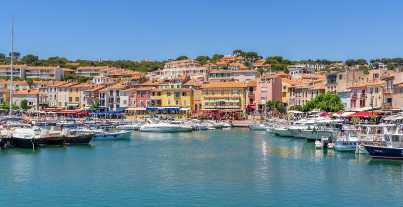 Cassis village in France, popular place for boat tours. Cassis village is located near Marseille in France. Popular place for beach and boat tours to see the stock image