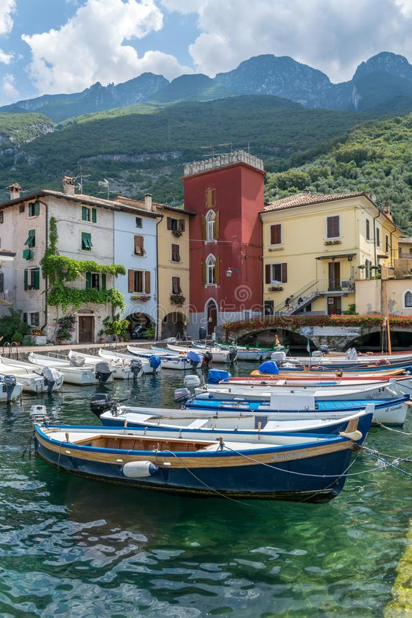 Cassone di Malcesine. Cassone, Italy - 31 July, 2019 : This is fishing boats in Cassone harbour on Lake Garda in Italy royalty free stock images