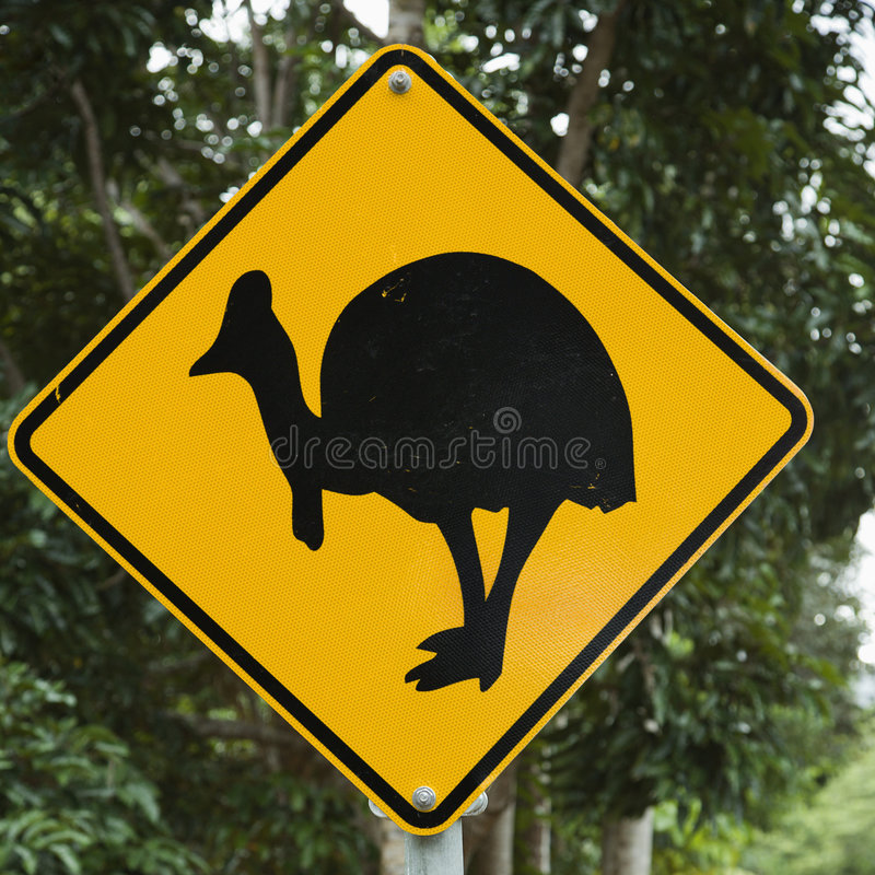 Cassowary crossing sign. royalty free stock photos