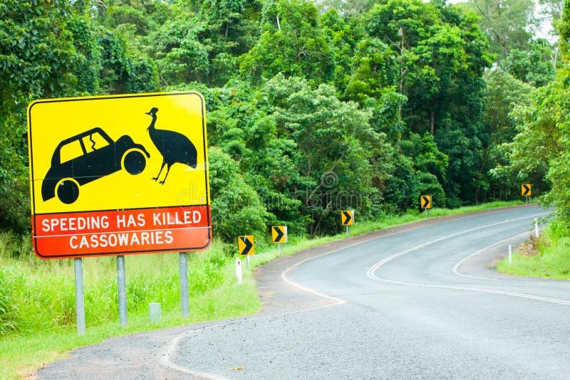 Cassowaryvägvarning undertecknar i Australien arkivfoton