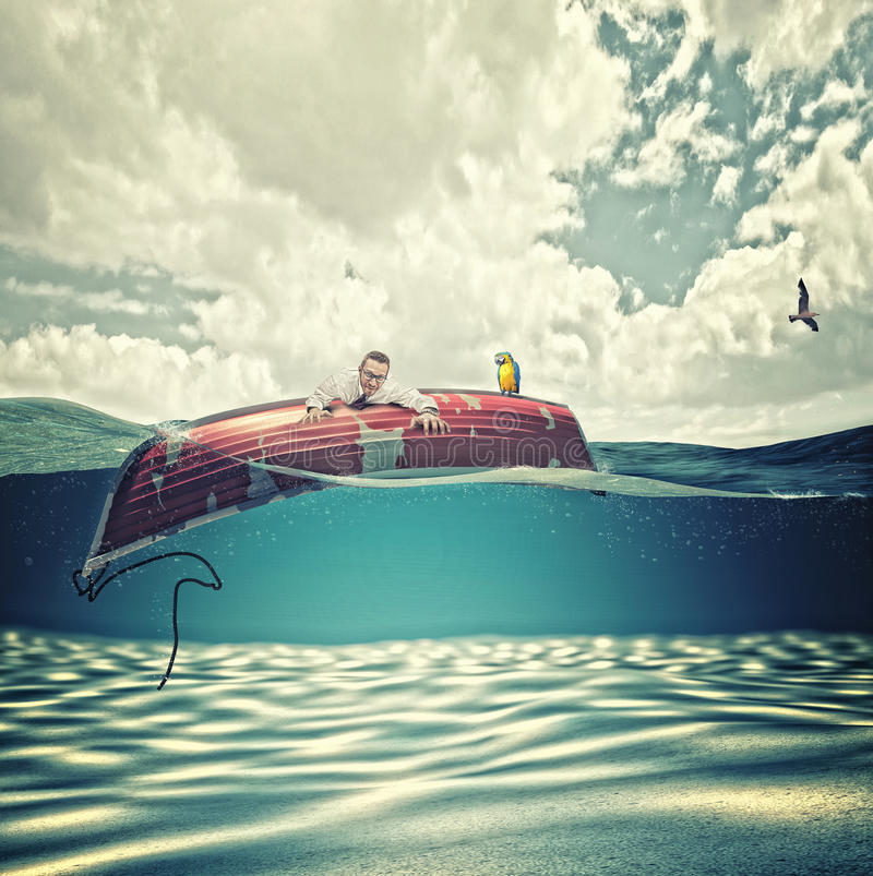Cast away man royalty free stock images