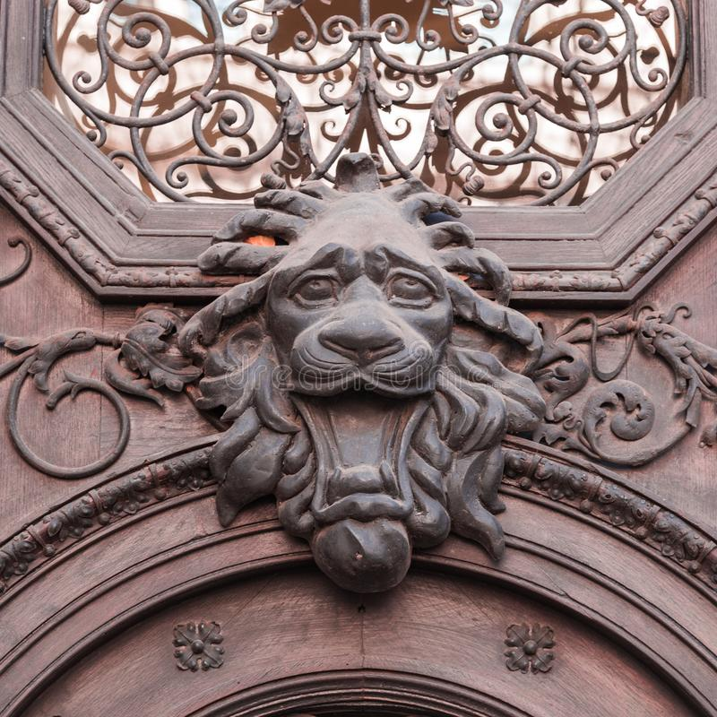 Cast iron door gate design with lion`s head royalty free stock images