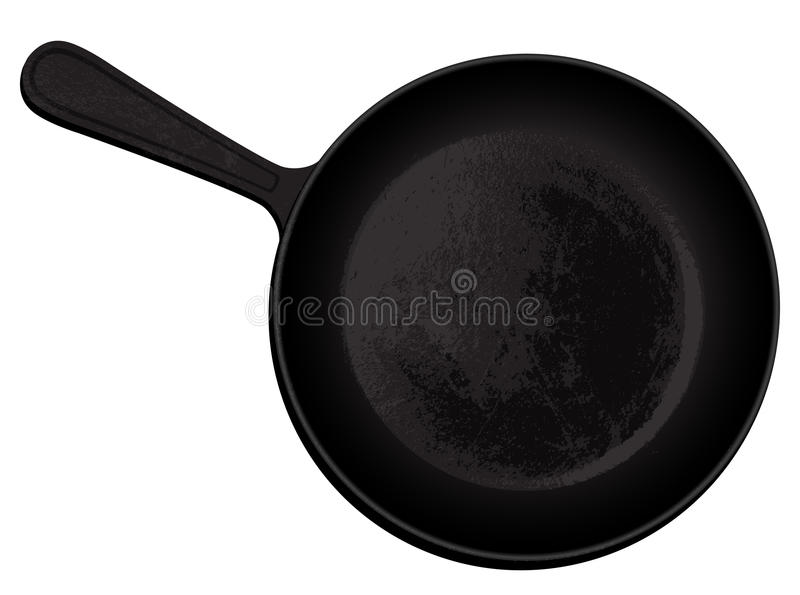 Cast-iron frying pan. Black cast iron pan on a white background, freehand drawing vector illustration