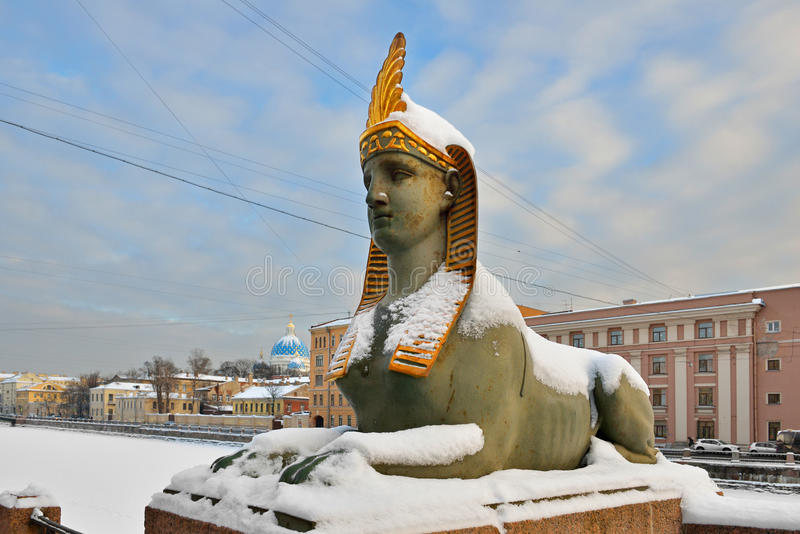 Cast-iron Sphinx (1826) of Egyptian bridge over the Fontanka river. St. Petersburg, Russia stock photos