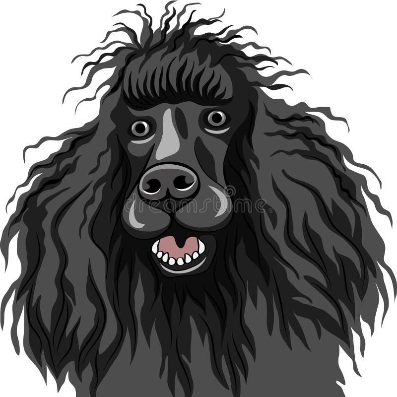 Casta sonriente negra del caniche del perro ilustración del vector