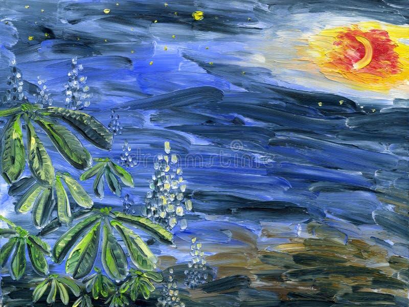 Castagna di fioritura alla notte illuminata dalla luna con le stelle royalty illustrazione gratis