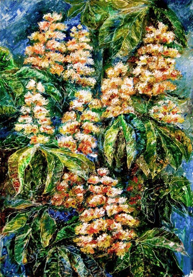 Castagne di fioritura di notte illustrazione di stock