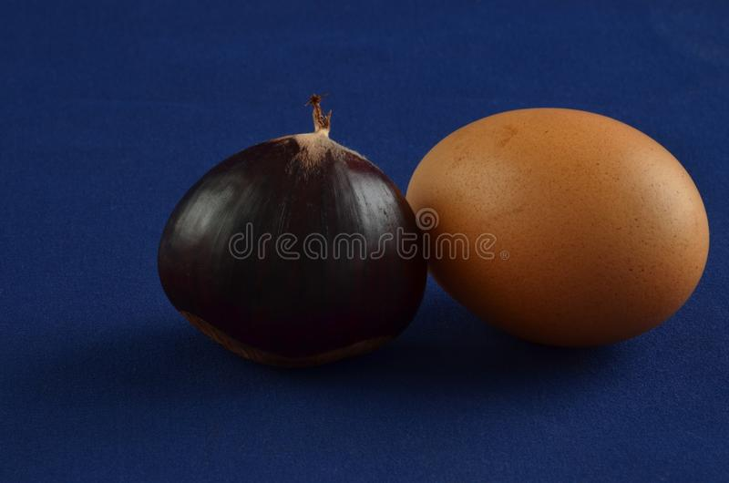 Download Castagne Fresche Con Fondo Blu Immagine Stock - Immagine: 101037485