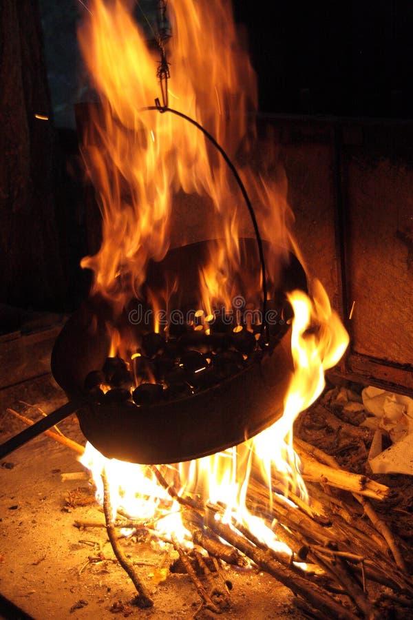 Castagne sul fuoco fotografia stock libera da diritti