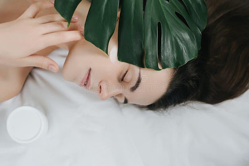 Castana adorabile con l'aspetto attraente La stazione termale di cura di pelle si rilassa il concetto immagine stock libera da diritti