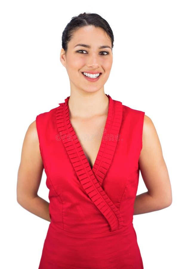 Castana sexy allegro nella posa rossa del vestito immagine stock