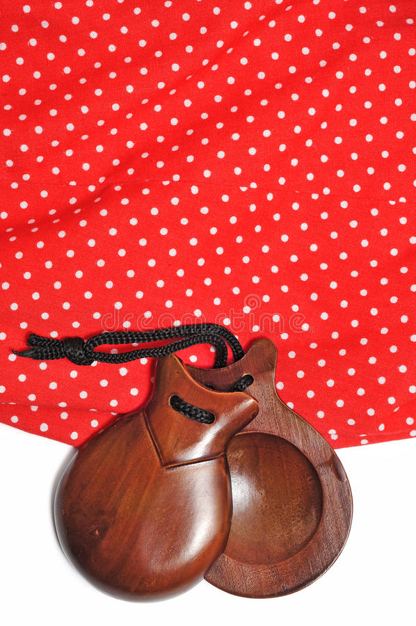Castanets And Flamenco Dress Royalty Free Stock Images