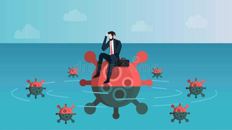 Castaway Businessman Feeling Anxiety While Sitting on Virus Island. Meaning is Business People Feel Stress About Coronavirus 2019. Or Covid-19 Infection Crisis stock illustration