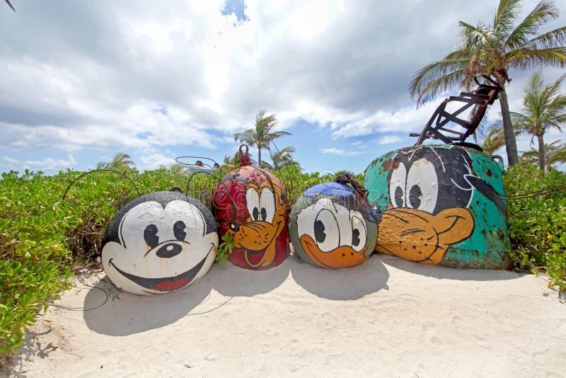 Castaway Cay Mount Rustmore. CASTAWAY CAY, THE BAHAMAS - September 19, 2011 - Mount Rustmore featuring Mickey, Pluto, Donald and Goofy, on Castaway Cay, Disney stock photo