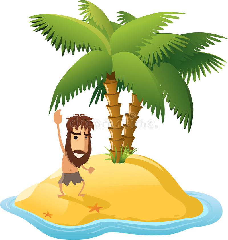 Castaway on a deser island. Desert Island With Palm Trees and Shipwrecked Man. With star shape shape illustration cartoon vector illustration
