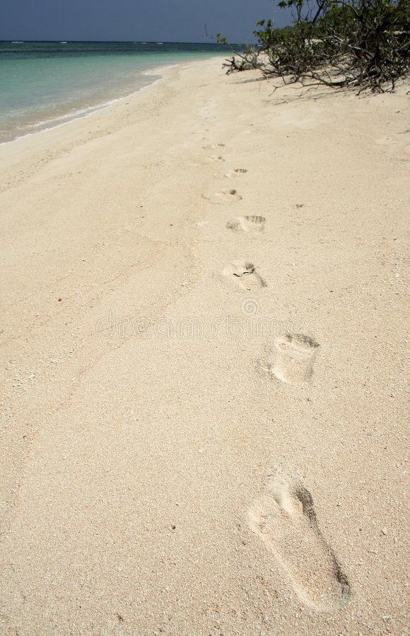 castaway footprints in sand background philippines royalty free stock photos