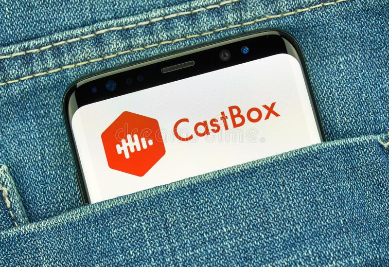 Castbox mobile app on Samsung s8 stock photo