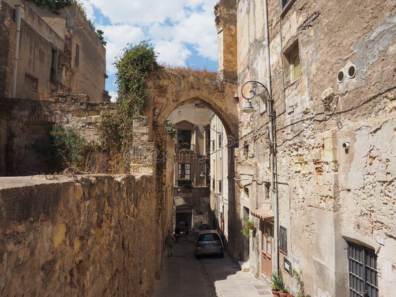 Casteddu (意思城堡处所)在卡利亚里 免版税库存图片