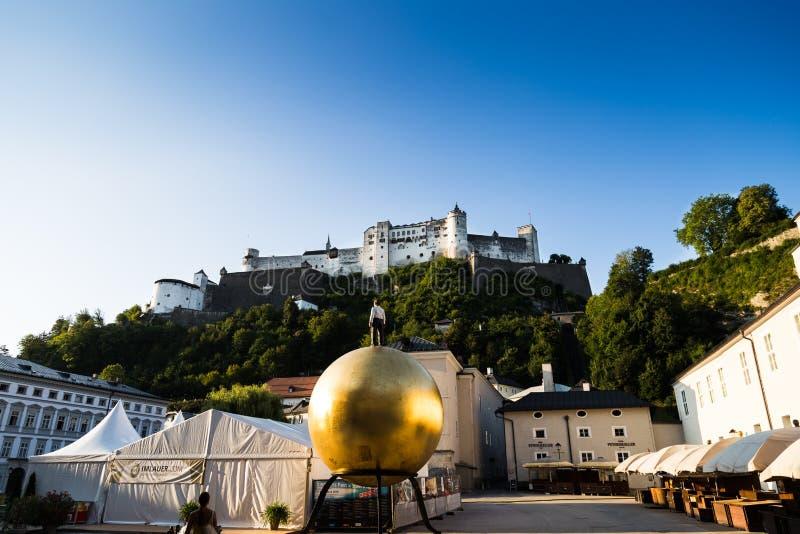Castel av salzburg arkivfoton