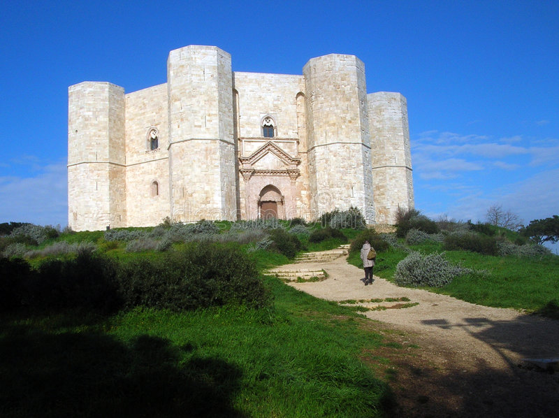Castel del Monte. View of Castel del Monte, Andria (BA) Italy, from the small street that climbs the hill royalty free stock photos