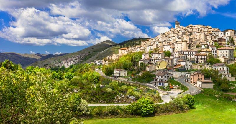 Castel del Monte Abruzzo, Italy. stock photo