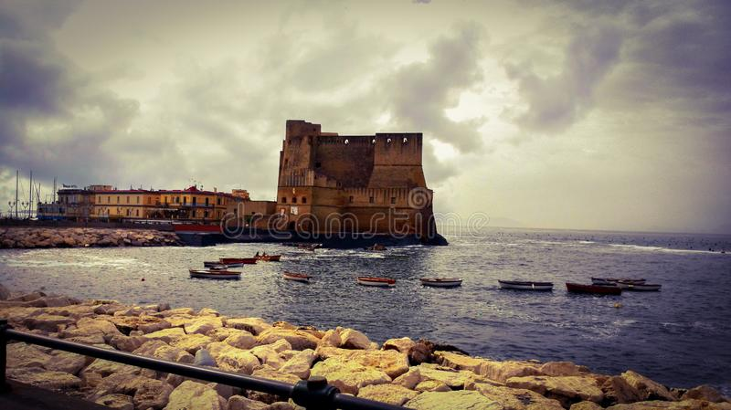 Panoramic view of the Egg Castle, located on the former island of Megaride, now a peninsula, on the Gulf of Naples in Italy. royalty free stock photos