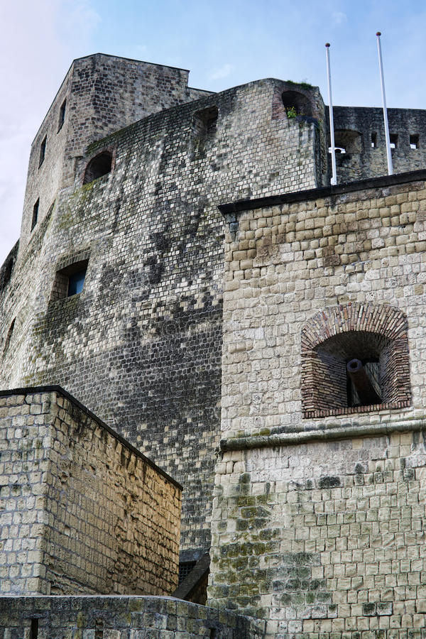 Ancient castle with cannons in Italy royalty free stock photography