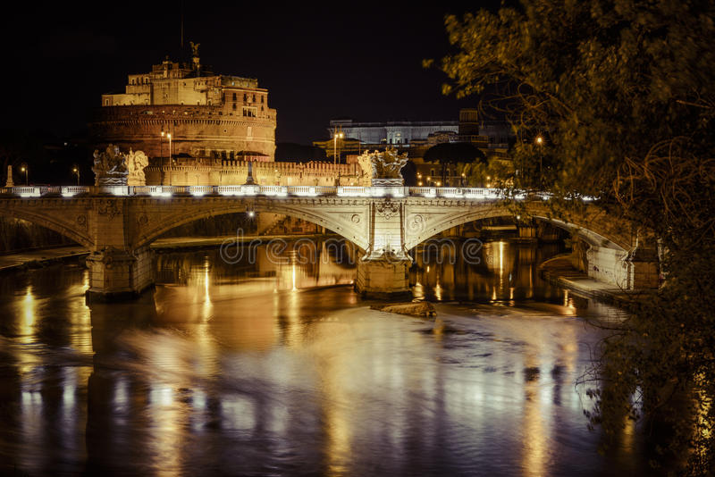 Castel Di Angelo By Night Stock Photo