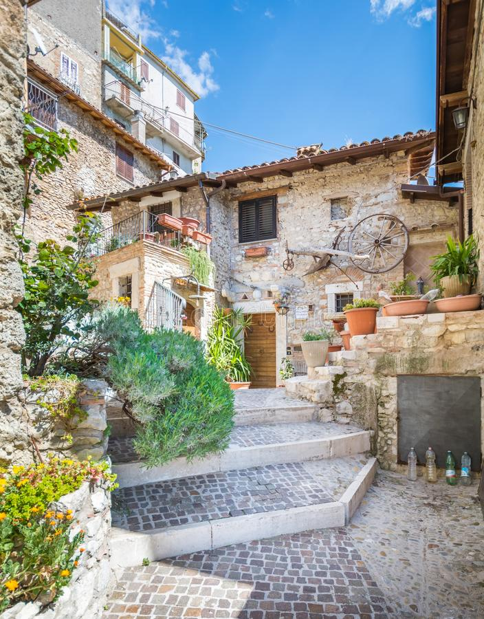 Castel di Tora, comune in the Province of Rieti in the Italian region Latium. Castel di Tora is a comune in the Province of Rieti in the Italian region Latium royalty free stock image