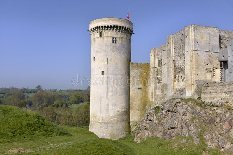 Castel of Falaise in France. Castle of William the Conqueror of Falaise, a commune in the Calvados department in the Basse-Normandie region in northwestern stock photos