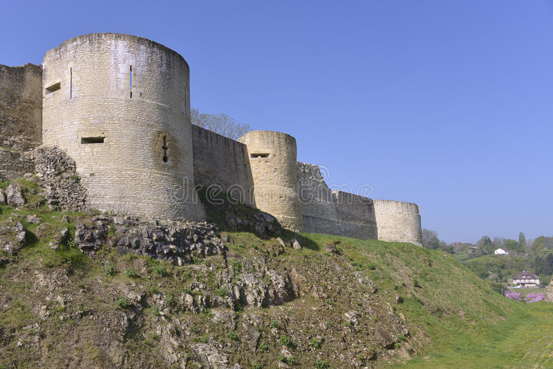 Castel of Falaise in France. Castle of William the Conqueror of Falaise, a commune in the Calvados department in the Basse-Normandie region in northwestern stock photography