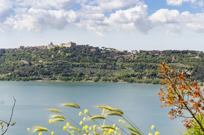 Castel Gandolfo town located by Albano lake, Lazio, Italy royalty free stock photos