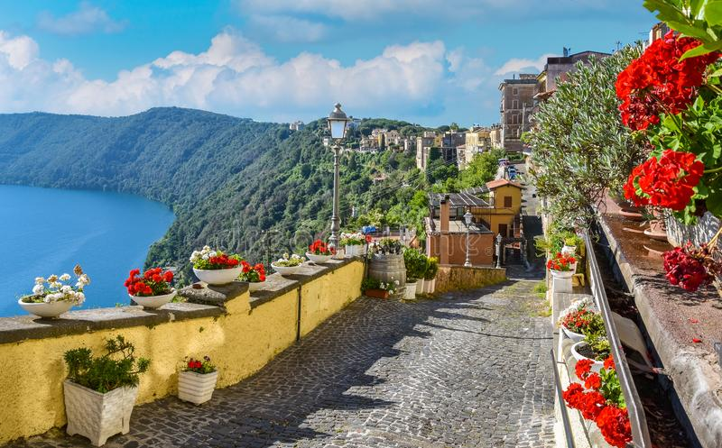 Scenic sight in Castel Gandolfo, with the Albano lake, in the province of Rome, Lazio, central Italy. stock photo