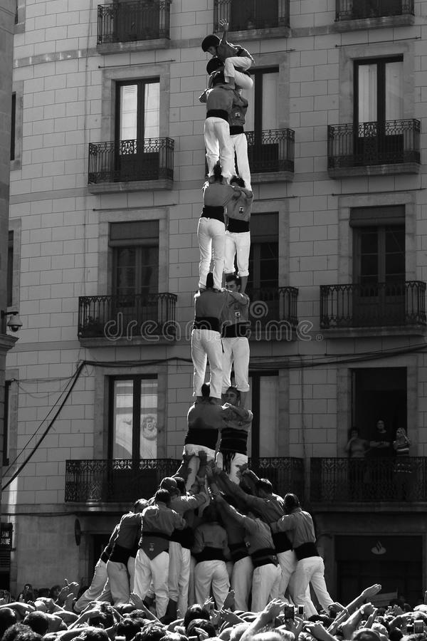 Castel - human towers. Barcelona royalty free stock image