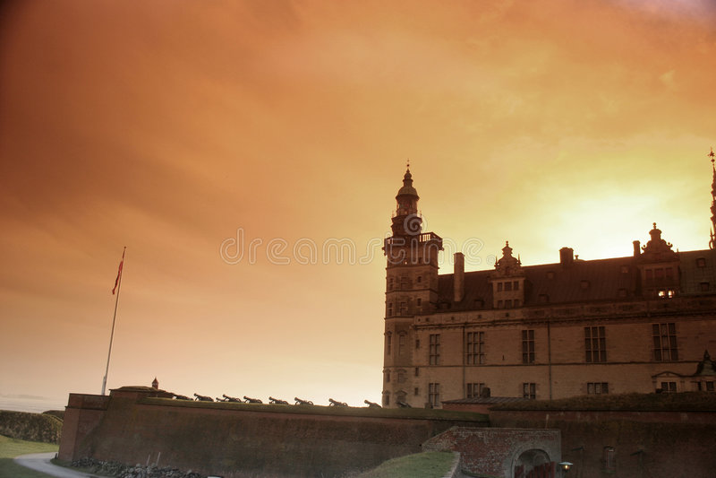 castel kronborg σκιαγραφία στοκ εικόνα