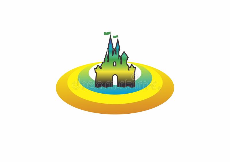 Castel logo/drömmarnas landlogo stock illustrationer