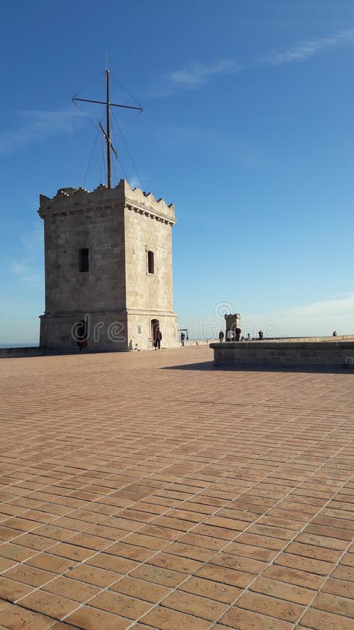 Castel montjuic стоковое фото rf