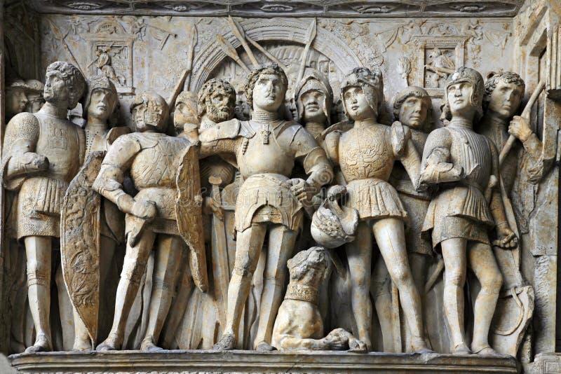 Castel Nuovo detail - Maschio Angioino - Naples stock photography