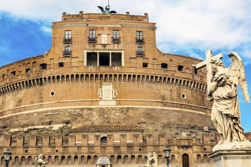 Castel Ponte Sant Angelo Vatican Bernini Angel Rome Italy immagine stock libera da diritti