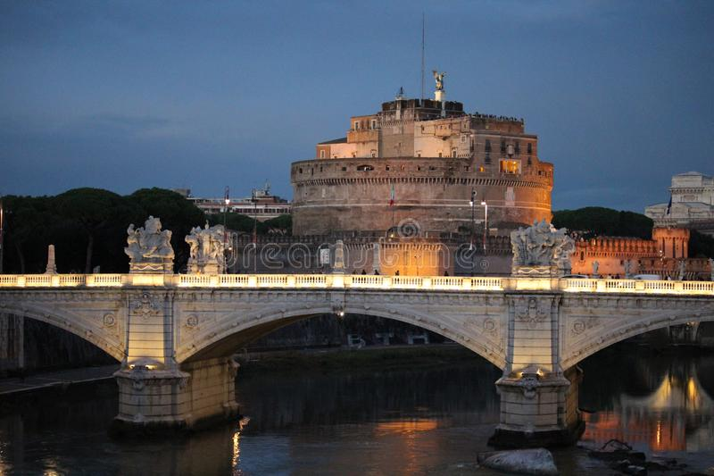 Castel Saint Angelo on river Tiber royalty free stock photo