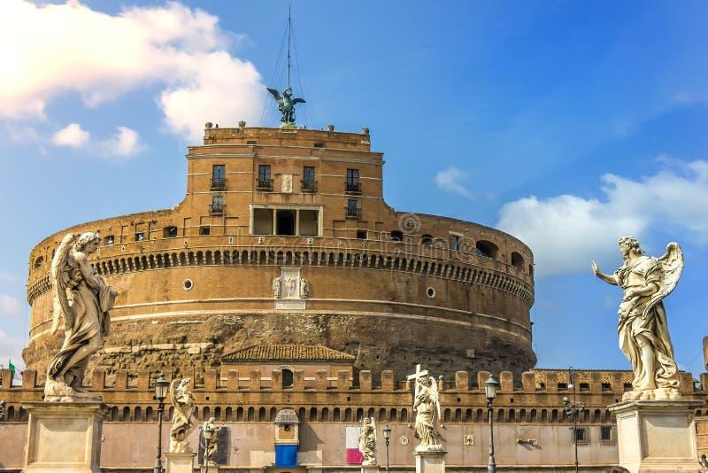 Castel Sant-` Angelo, Ansicht von der Aelian-Brücke stockbilder