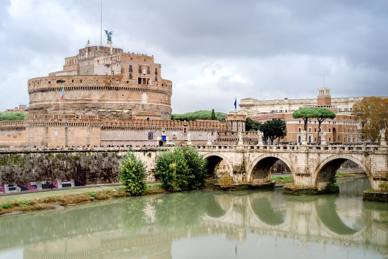 Castel Sant Angelo in a autumn day in Rome, Italy stock images