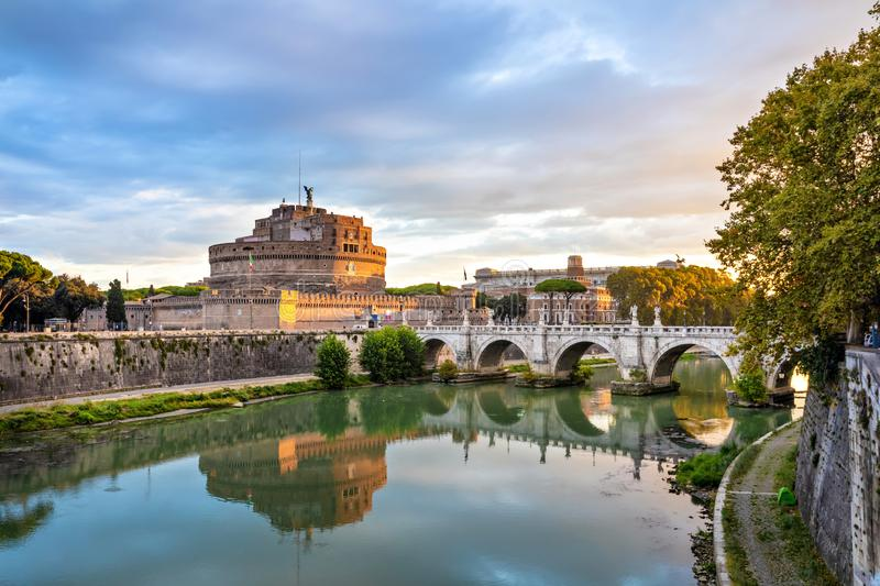 Castel Sant`Angelo and bridge over Tiber river in Rome, Italy stock photo